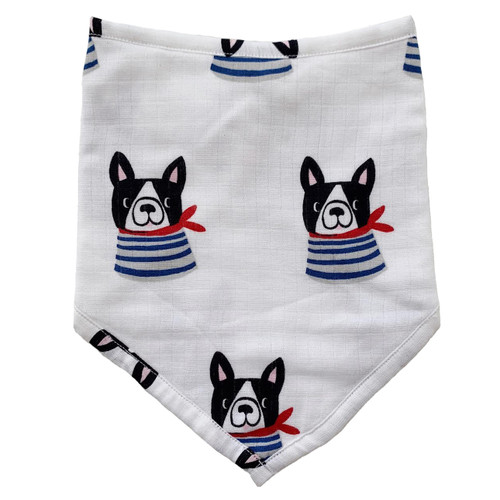 Muslin Bandana Bib, Frenchie the Dog