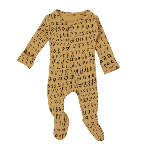 Organic Footed Romper, Honey Letters