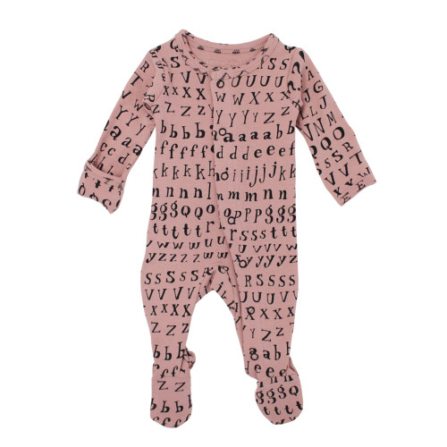 Organic Footed Romper, Mauve Letters