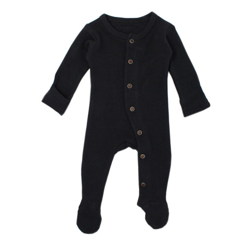 Organic Cotton Thermal Footed Romper, Black