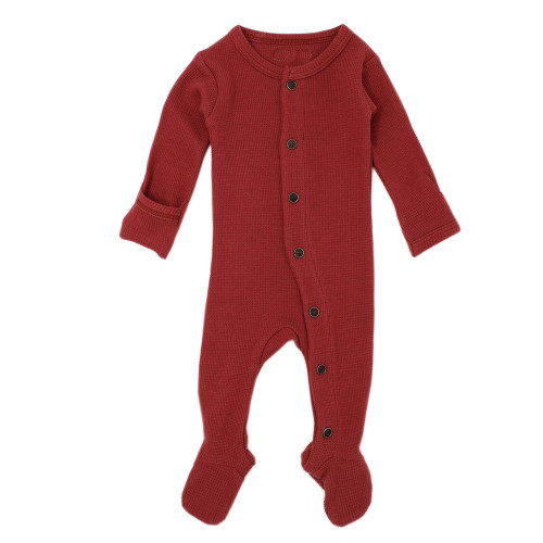 Organic Cotton Thermal Footed Romper, Brick