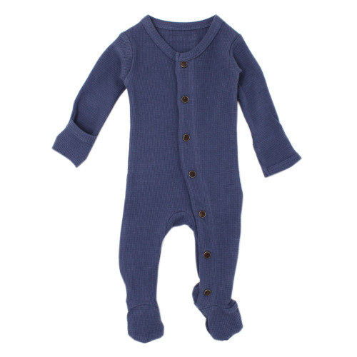 Organic Cotton Thermal Footed Romper, Dusk