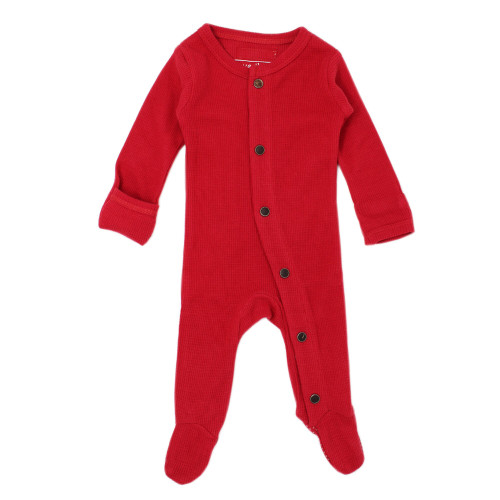 Organic Cotton Thermal Footed Romper, Cherry Red