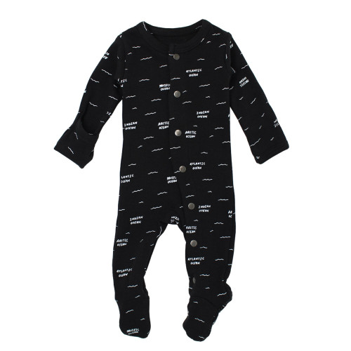 Organic Footed Romper, Black Seas