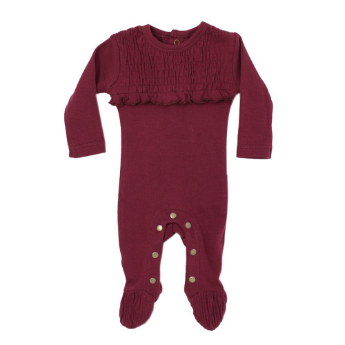 Organic Cotton Smocked Footed Romper, Cranberry