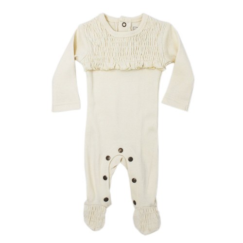 Organic Cotton Smocked Footed Romper, Beige