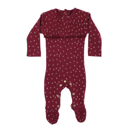 Organic Cotton Smocked Footed Romper, Cranberry Dots