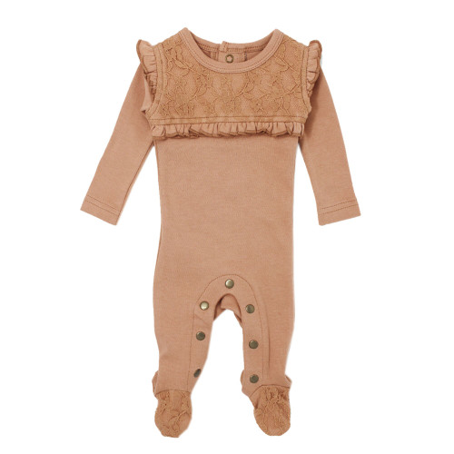 Organic Cotton Lace Footed Romper, Nutmeg