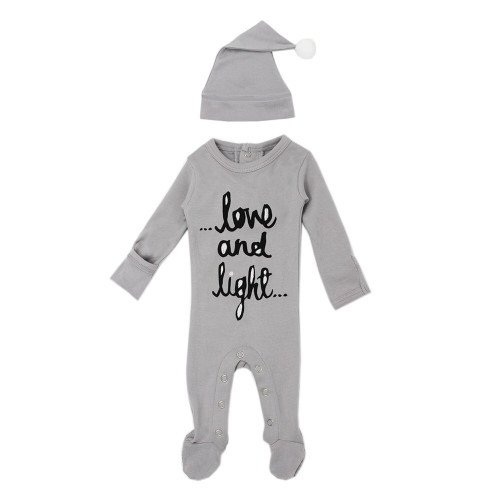 Organic Holiday Footie & Cap Set, Grey Love & Light
