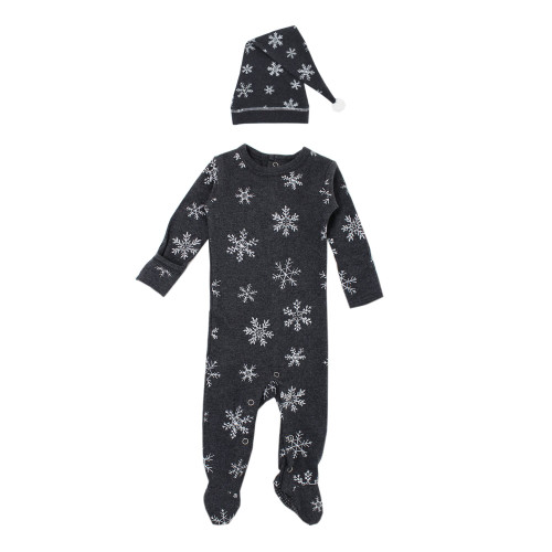 Organic Holiday Footie & Cap Set, Frost