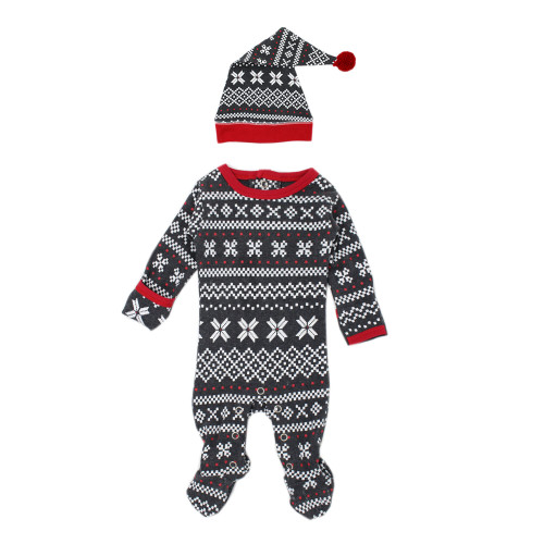 Organic Holiday Footie & Cap Set, XOXO Fair Isle