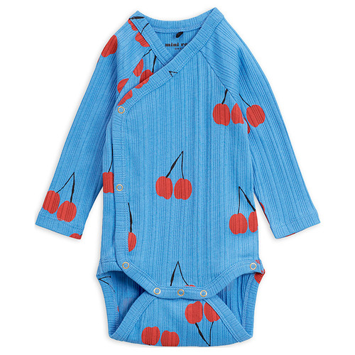 Mini Rodini Cherry Wrap Bodysuit, Blue