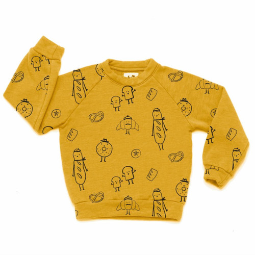 All Over Bread Raglan Sweatshirt, Golden