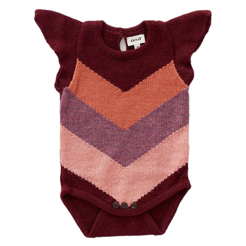 Oeuf Chevron Bodysuit, Burgundy