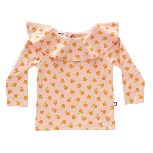 Oeuf Ruffle Collar Tee, Pink Clementines