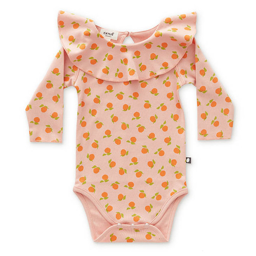 Oeuf Long Sleeve Ruffle Collar Bodysuit, Pink Clementines