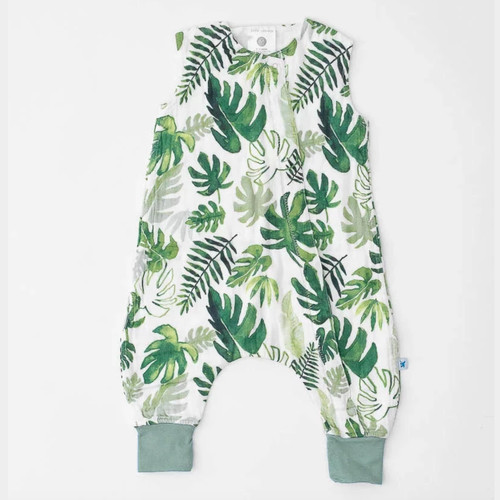 Cotton Muslin Sleep Romper, Tropical Leaf