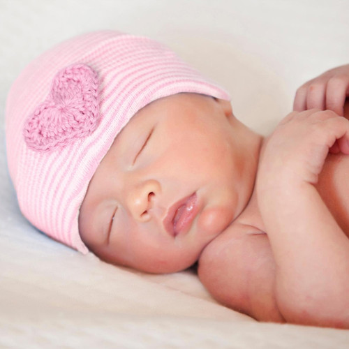 Newborn Bow Hat, Pink Crochet Heart