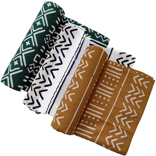 Muslin Swaddle 3-Pack: Forest, White, & Ochre Mudcloth