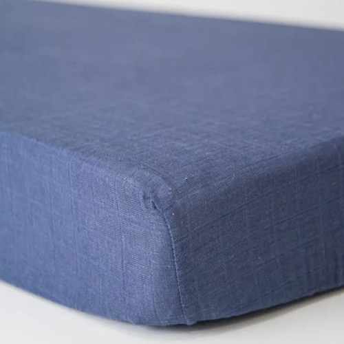Muslin Fitted Crib Sheet, Indigo Wash