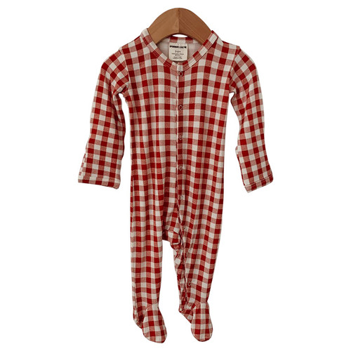 Snap Basic Footed Romper, Brick Gingham