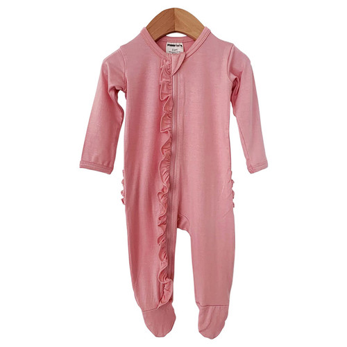 Ruffle Zipper Footie, Prettiest Pink