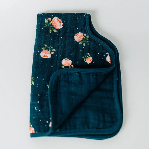 Muslin Burp Cloth, Midnight Rose
