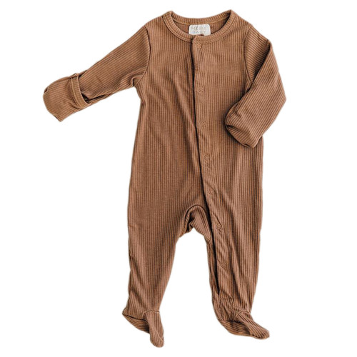 Long Sleeve Ribbed Footie, Cocoa