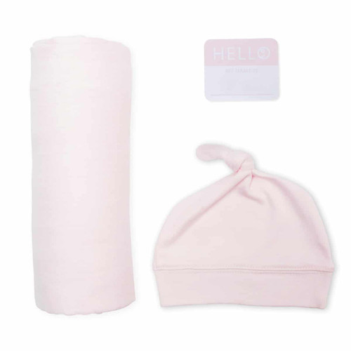 Hat & Swaddle Set, Pink