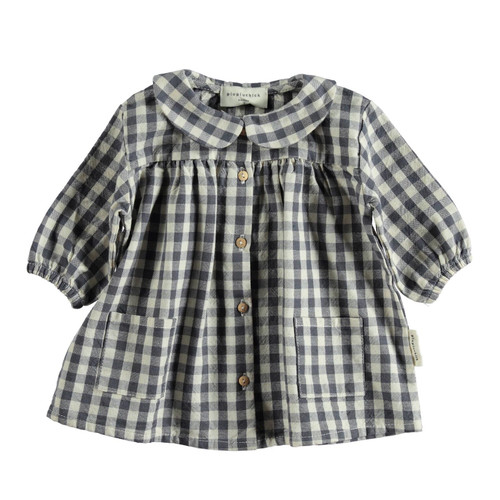 Baby Dress, Ecru/Grey Check