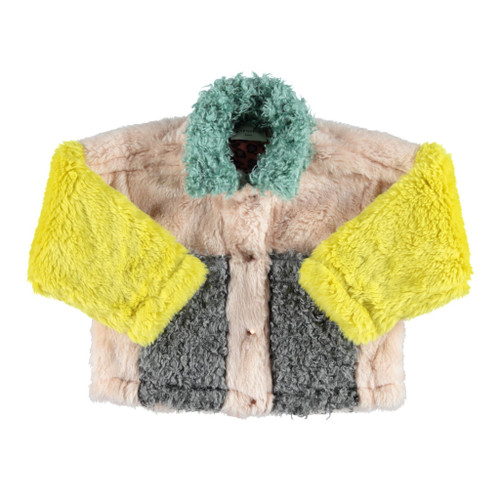 Faux Fur Bomber Jacket, Tri-Color