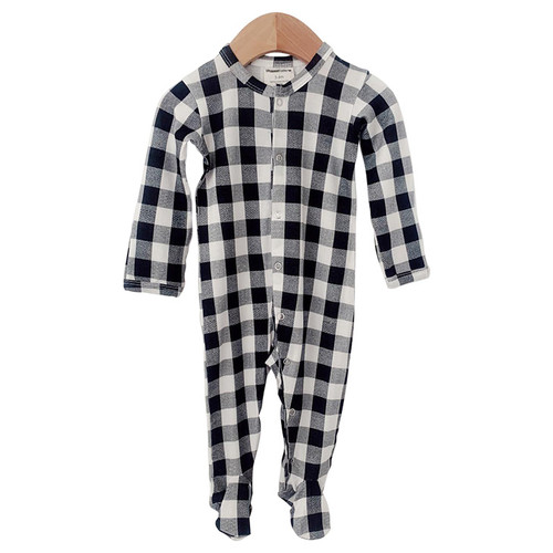 Basic Snap Footie, Black Plaid