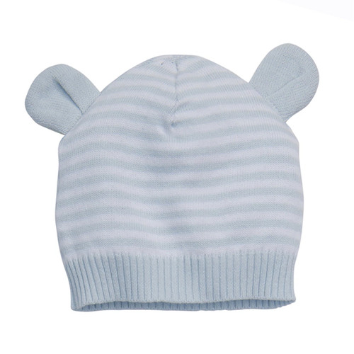 Blue Stripe Knit Bear Hat