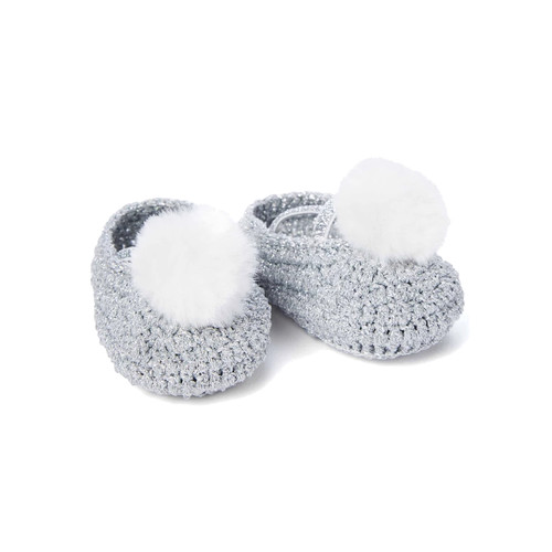 Pom Metallic Crocheted Booties