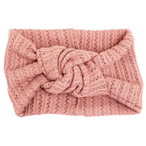 Twist Knot Headband, Dusty Rose Pointelle