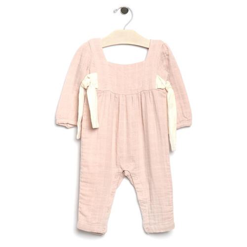 Muslin Side Ties Romper, Rose
