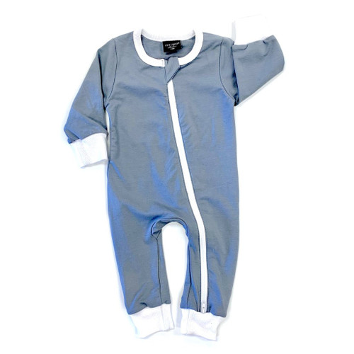2-Way Zip Romper, Ash Blue