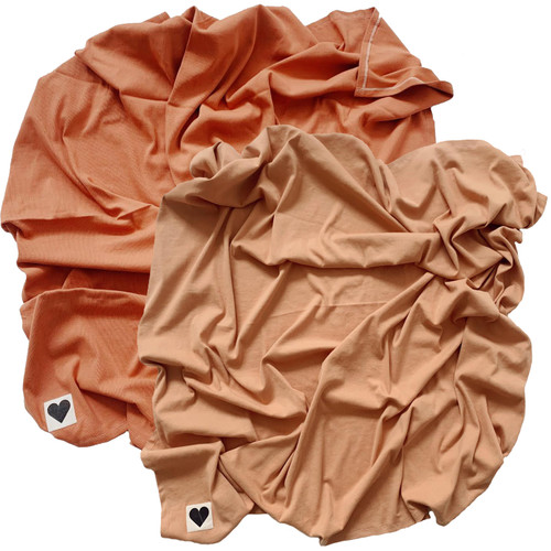 Organic Ribbed Stretch Swaddle 2-Pack, Rust & Camel