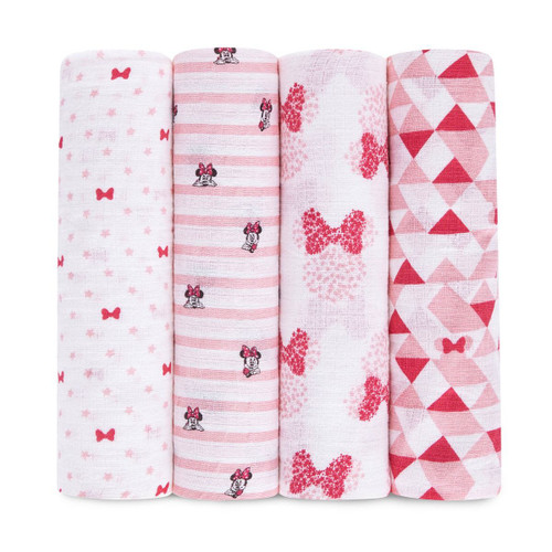 Muslin 4-Pack Swaddle Set, Pink Graphic Minnie