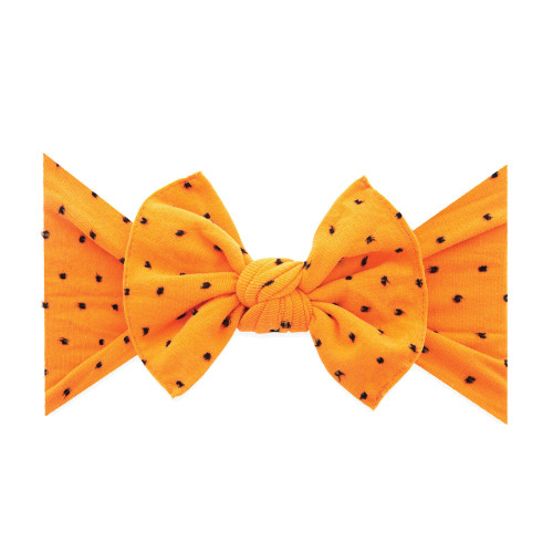 Knot Bow, Shabby Orange Black Dot