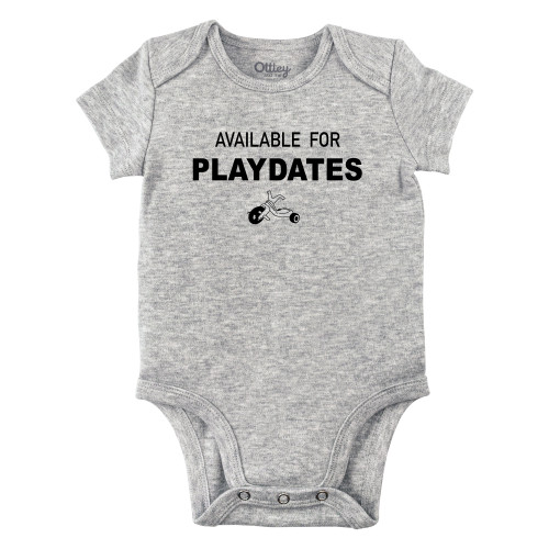Available for Playdates Bodysuit, Grey