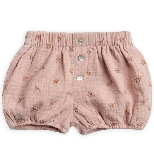 Rylee & Cru Button Short, Leaf Embroidered