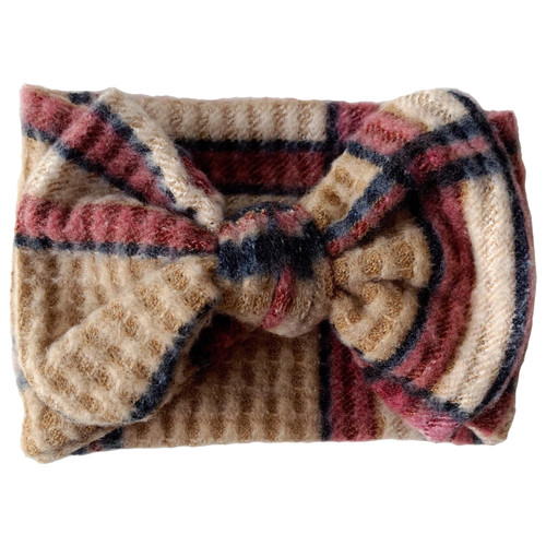 Holiday Collection Sweater Bow Headband, Taupe/Mauve Plaid