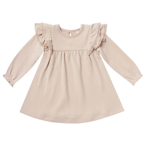 Long Sleeve Flutter Dress, Rose