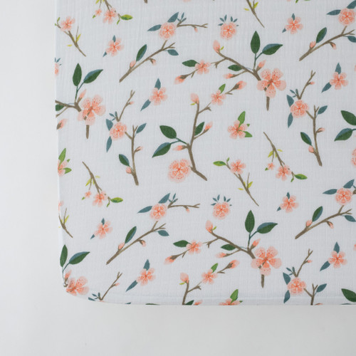 Muslin Crib Sheet, Peachy Blossom