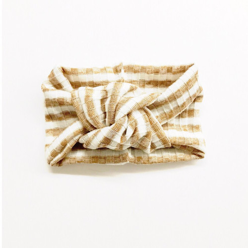 Twist Knot Headband, Caramel/White Stripe