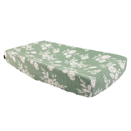 Muslin Changing Pad Cover, Sage Floral