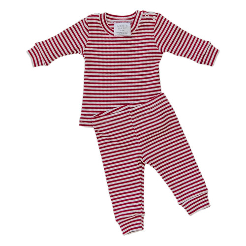 Ribbed Two Piece Set, Red & White Holiday Stripe