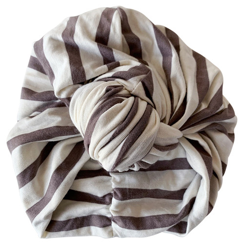 Knot Turban, Taupe/White Stripe