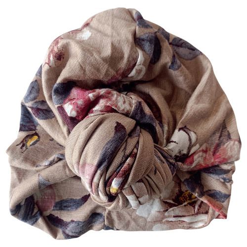 Knot Turban, Taupe Floral